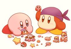 Kirby and bandana waddle dee Kirby Character, Game Character, Character Design, Super Smash Bros, Video Game Art, Video Games, Kirby Games, Pokemon, Meta Knight