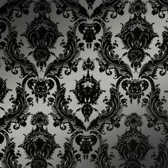 Seriously considering redoing the bathroom walls with this silver-and-black damask temporary wallpaper. It's pretty close to my original plan, which was flocked burgundy damask wallpaper that looked like it came from a Victorian bordello. :)