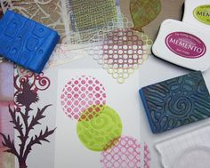 Mini Gelli® Stamping with Ink Pads!  After the stamp ink is applied to the gel plate (and rolled out if desired)— you can press stencils, stamps, and found textures onto the plate to create designs in the ink. Then stamp your Mini plate to create your print! And you can often get a beautiful ghost print or two, so have paper ready to stamp again and again!