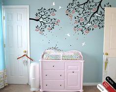 Modern nursery branches wall decal vinyl wall sticker two piece branch wall mural 049