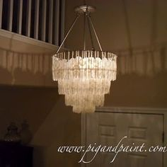 I have seen a lot of DIY versions of a capiz shell chandelier but I think this is my favorite so far! Pig and Paint knocked this one out of the park. I would love to make two of these to replace the horrid boob lights in my hallway. Click on