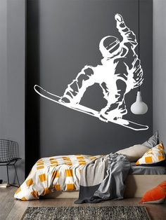 Wall Decal Sticker Bedroom snowboarding winter snow sport boys teenager room 199b
