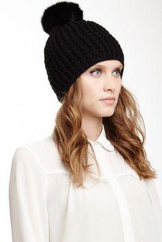 Blend of America Kyi Kyi Faux Fur Pompom Wool Classic Beanie Knit Beanie, Beanie Hats, Beanies, Women's Hats, Crochet Fox, Crochet Hats, Fox Hat, Chunky Knitting Patterns, Hat Crafts