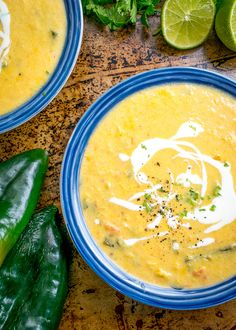 This Corn and Poblano Soup has a perfect balance between the corn and the roasted poblanos. A drizzle of cream and a final dash of acidity turn it into a keeper! mexicanplease.com
