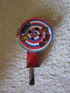 Vintage '50's Tin Chein Friction Sparkler: Haven't seen one of these in some time..pump  the button, spin the wheel and watch the colored sparks fly. #Toy #Sparkler