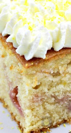Lemon Drizzle Raspberry Ripple Cake. An easy, soft, moist and great tasting cake, perfect with a cup of tea! Filled with raspberry jam then topped with a lovely lemon drizzle glaze.