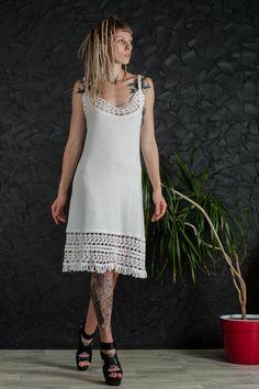 White crochet sundress beach wedding dress sleeveless cocktail dress boho wedding lace dress viscose summer dress mini white beachwear dress by CrochetDressTalita on Etsy