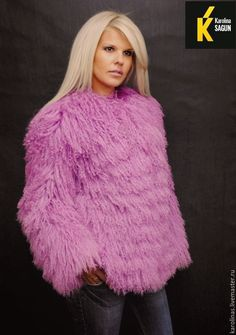 women in pink goat fur coats and jackets - Google Search