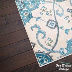 Area Rug: Aqua Turquoise Teal Blue Grey Cream Ivory - Dark Hard Wood Floors - foxhollowcottage.com