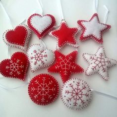 Felt christmas ornaments set of 10 heart star by DusiCrafts design SET of Felt Christmas ornaments, classic Christmas decoration, red white decoration, heart star traditional ornaments Christmas Projects, Felt Crafts, Holiday Crafts, Homemade Christmas, Christmas Crafts, Christmas Angels, Christmas Christmas, Christmas Ideas, Classic Christmas Decorations