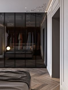 Modern classic interior for a wealthy couple in the heart of Kyiv. Glass Wardrobe, Wardrobe Door Designs, Wardrobe Room, Wardrobe Design Bedroom, Closet Designs, Closet Bedroom, Home Decor Bedroom, Modern Wardrobe, Shoe Closet