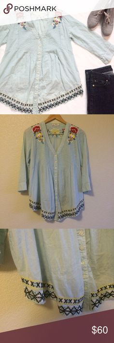 Johnny Was • Top This gorgeous embroidered top is by 3J Workshop (Johnny Was). It has pin tuck detail at the neck, buttons down the front, and 3/4 sleeves. Johnny Was Tops Button Down Shirts