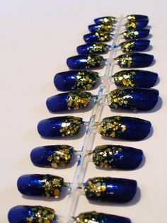 sexy SUPER BLING blue and gold glitter nail art