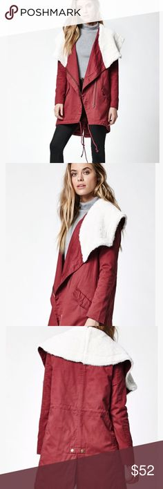 Red Parka Coat With Faux Fur Collar Pretty coat with fur lined collar. Has nice pockets.  Brand new. Retails for $85  Maroon coat/jacket. LA Hearts  Red Parka Coat With Faux Fur Collar La Hearts Jackets & Coats