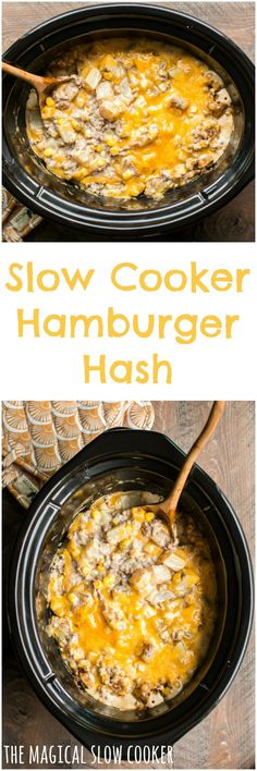 Slow Cooker Hamburger Hash Slow Cooker Hamburger Hash To convert to IP add cups water and cook 6 minutes with QR then add in cheese Crock Pot Food, Crockpot Dishes, Crock Pot Slow Cooker, Beef Dishes, Slow Cooker Recipes, Cooking Recipes, Crockpot Meals, Crockpot Drinks, Crock Pots
