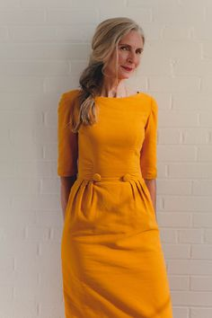 Behind the Seams | Seamwork Magazine. Take a closer look at this 1960s Sheath Dress - and in a golden mustard - what a stunning colour!