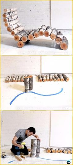 DIY Modern Log Lounger Instructions - Raw Wood Logs and Stumps DIY Ideas Projects