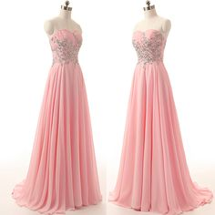 Sweetheart Neck Long Chiffon Crystals Prom Dresses