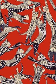 Retro cat party by scrummy. Vintage red/orange with deep blue cat illustrations… - Tapeten ideen - Retro cat party by scrummy. Vintage red/orange with deep blue cat illustrations Retro cat party by - Graphic Design Pattern, Art Design, Pattern Art, Red Pattern, Pattern Flower, Surface Pattern Design, Design Ideas, Vintage Pattern Design, Pattern Painting