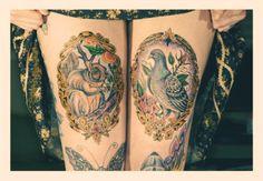 amazing #tattoo #legs #squirrel #dove