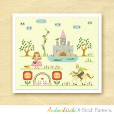 Kitschy Digitals :: Sewing & Needlework Patterns :: My Princess Castle Cross-Stitch Pattern