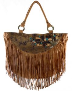 Eclipse Fringed Leather Handbag - Lapwing Leathers . Stylish and spacious leather handbag in half moon shape with fringes. Brown with hand painted art. Free shipping on U.S orders. No Risk Money Back. Buy Now!