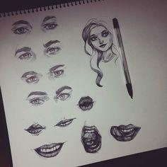 #ballpointpen #ballpointpendrawing #myartwork #myart #artistsoninstagram #lips #mouth #study #studies #eyes #eye #eyebrow #sketch by dayanash95