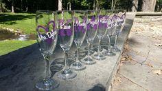 Chevron monogram bridesmaid glass Champagne by WaterfallDesigns