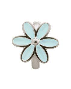 LIGHT BLUE ENAMEL FLOWER SILVER