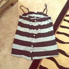 Striped VS PINK tank size S Adjustable straps. Buttons down front. PINK Victoria's Secret Tops Tank Tops