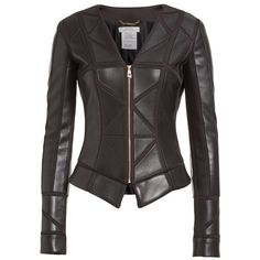 Women's Versace Collection Leather Trim Jacket ($1,675) ❤ liked on Polyvore featuring outerwear, jackets, collarless leather jacket, fleece-lined jackets, real leather jackets, lined leather jacket and versace