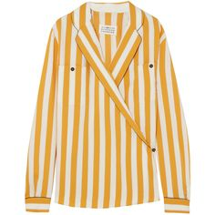 Maison Margiela Striped crepe wrap blouse (€770) ❤ liked on Polyvore featuring tops, blouses, wrap blouse, stripe top, maison margiela, wrap top and yellow top
