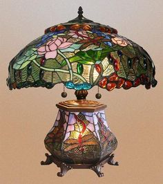 These floral patterns are most effectively presented on a globe or cone shaped shade, and tend to feature multicolored backgrounds with an array of intricately detailed flowers. These lamps are often designed with an irregular lower border.