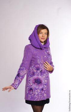 """Купить Пальто сиреневое """"Сон-трава"""" - сиреневый, цветочный, Дизайнерское пальто, валяное пальто"""