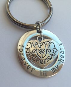 Forever In My Heart Anniversary keyring.  For her for him, wife, husband.  Celebrate your years together with this keepsake keyring. by Lexiandfriends on Etsy