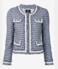 chanel jacket pocket flap with fringe Chanel Jacket Trims, Chanel Tweed Jacket, Chanel Style Jacket, Boucle Jacket, Blazer Fashion, Fashion Outfits, Womens Fashion, Jw Mode, Mode Chanel