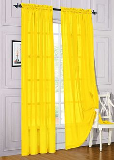 Gorgeous Home *DIFFERENT COLORS* 2 PANELS 55' WIDE X 63' LENGTH (FOR EACH PANEL) SOILD WINDOW SHEER PANELS CURTAINS TREATMENT ROD POCKET DRAPE (BRIGHT YELLOW) ** You can find out more details at the link of the image.