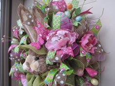 Easter Wreath Deco Mesh Wreath Front Door by NicoleDCreations