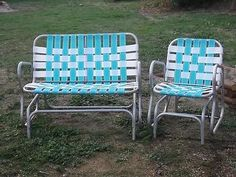 Aluminum Webbed Double Glider Lawn Chair Set. I LOVE THIS. Please, someone in Spokane pick it up for me and bring it to LA!!!