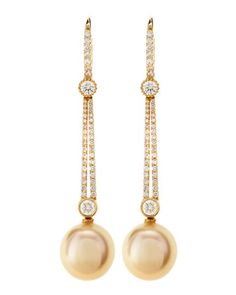 Linear Diamond & Pearl Earrings by Assael at Last Call by Neiman Marcus.
