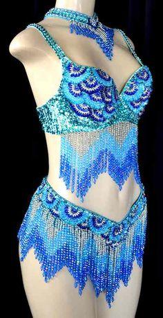 Iridescent Caribbean Blues Dance Costume