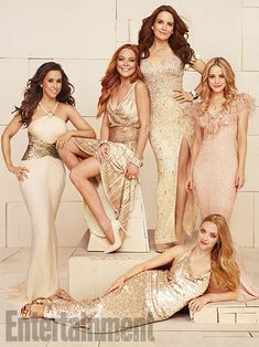 Reunions 2014: Portraits of 'Mean Girls'; 'Sports Night'; 'Napoleon Dynamite'; 5 More Casts | Lacey Chabert, Lindsay Lohan, Tina Fey, Rachel McAdams, and Amanda Seyfried (lying down), <em>Mean Girls</em> | EW.com