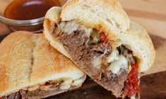 Hot & Spicy Italian Drip Beef (Homemade) Spicy Italian Drip Beef Sandwich Recipe ~ It combines hot shredded beef and spicy peppers on a toasted sub roll with melted provolone cheese Sub Rolls, Good Food, Yummy Food, Soup And Sandwich, Hot Sandwich Recipes, Salad Sandwich, Chicken Sandwich, Chicken Salad, Wrap Sandwiches