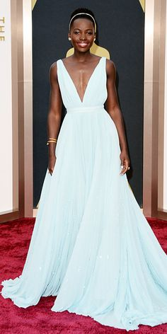 Lupita Nyong'o looked like a princess in her Prada gown #oscars2014 #redcarpet #style
