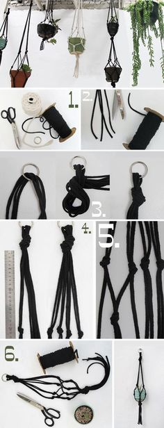 Make a hanging planter by rope....ID WANT AT LEAST 4 THAT MATCH BLACK BURGANDY MAYBE EVEN CREAM WOULD BE OK