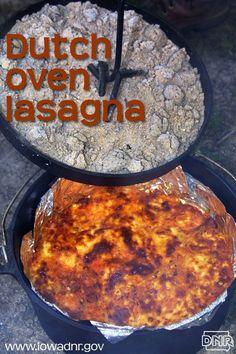 Dutch oven lasagna recipe from the Iowa DNR a bunch of dutch oven recipes Fire Cooking, Cast Iron Cooking, Oven Cooking, Cooking Recipes, Camp Oven Recipes, Dutch Oven Campfire Recipes, Skillet Cooking, Dinner Recipes, Dessert Recipes