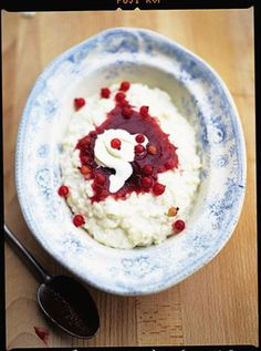 Rice pudding is an old English favourite, but it's also really big in Iceland. They like to serve it with a sharp sauce made from red fruit, which cuts through the richness of the creamy sticky pudding beautifully – clever and absolutely delicious! Pudding Desserts, Pudding Recipes, Rice Recipes, Dessert Recipes, Cooking Recipes, Sticky Pudding, Fruit Sauce, Berry Sauce, Brunch