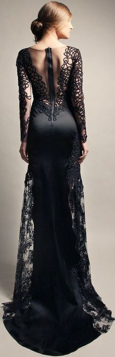 Gemy Maalouf ★DG★ Gorgeous long black dress with lace. Evening Dresses, Prom Dresses, Formal Dresses, Dress Prom, Wedding Dresses, Beautiful Gowns, Beautiful Outfits, Gorgeous Dress, Elegant Dresses