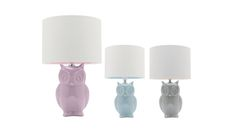 Hoot Table Lamp Owl Ceramic Base Purple, Blue or Grey A58711, $65.00