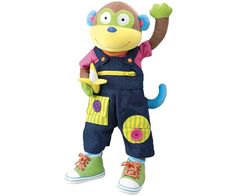 """Learn To Dress Monkey and over 7,500 other quality toys at Fat Brain Toys. Learn to dress with Alex the monkey from head to toe! 22"""" long plush doll has 11 dressing activities that helps develop fine motor skills. Learn to snap on straps, button, hook and loop, zipper and more. Comes with real socks and lace up sneakers. Shirt and overalls are removable, too! Suitable for age: 18 month(s)"""